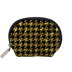 Houndstooth1 Black Marble & Gold Foil Accessory Pouches (small)  by trendistuff