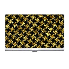 Houndstooth2 Black Marble & Gold Foil Business Card Holders by trendistuff