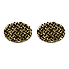Houndstooth2 Black Marble & Gold Foil Cufflinks (oval) by trendistuff