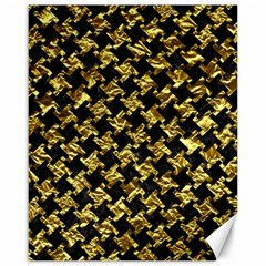 Houndstooth2 Black Marble & Gold Foil Canvas 16  X 20   by trendistuff