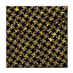 Houndstooth2 Black Marble & Gold Foil Face Towel by trendistuff