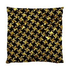 Houndstooth2 Black Marble & Gold Foil Standard Cushion Case (two Sides) by trendistuff