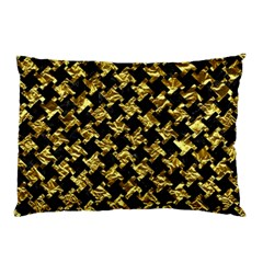 Houndstooth2 Black Marble & Gold Foil Pillow Case by trendistuff