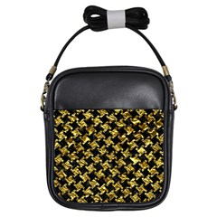 Houndstooth2 Black Marble & Gold Foil Girls Sling Bags by trendistuff