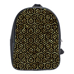 Hexagon1 Black Marble & Gold Foil School Bag (xl) by trendistuff