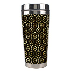 Hexagon1 Black Marble & Gold Foil Stainless Steel Travel Tumblers by trendistuff