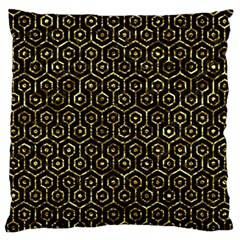 Hexagon1 Black Marble & Gold Foil Large Flano Cushion Case (two Sides) by trendistuff