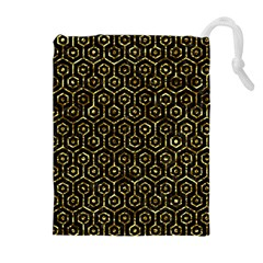 Hexagon1 Black Marble & Gold Foil Drawstring Pouches (extra Large) by trendistuff