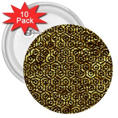 Hexagon1 Black Marble & Gold Foil (r) 3  Buttons (10 Pack)  by trendistuff