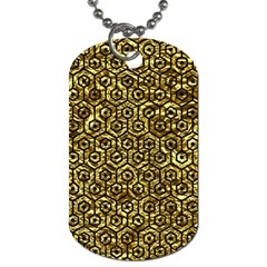 Hexagon1 Black Marble & Gold Foil (r) Dog Tag (two Sides) by trendistuff