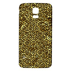 Hexagon1 Black Marble & Gold Foil (r) Samsung Galaxy S5 Back Case (white) by trendistuff