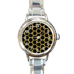 Hexagon2 Black Marble & Gold Foil Round Italian Charm Watch by trendistuff