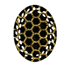 Hexagon2 Black Marble & Gold Foil Oval Filigree Ornament (two Sides) by trendistuff