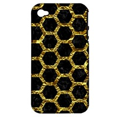 Hexagon2 Black Marble & Gold Foil Apple Iphone 4/4s Hardshell Case (pc+silicone) by trendistuff