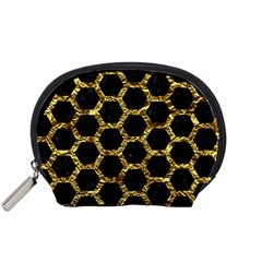Hexagon2 Black Marble & Gold Foil Accessory Pouches (small)  by trendistuff