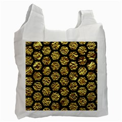 Hexagon2 Black Marble & Gold Foil (r) Recycle Bag (one Side) by trendistuff