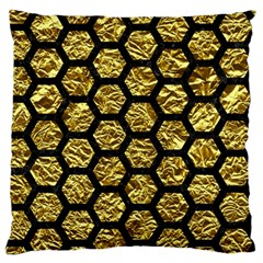 Hexagon2 Black Marble & Gold Foil (r) Standard Flano Cushion Case (two Sides) by trendistuff