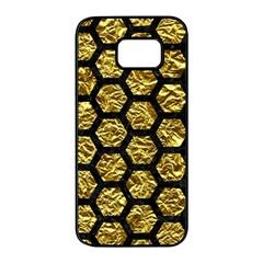 Hexagon2 Black Marble & Gold Foil (r) Samsung Galaxy S7 Edge Black Seamless Case by trendistuff