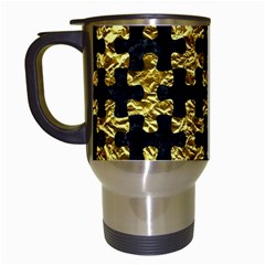 Puzzle1 Black Marble & Gold Foil Travel Mugs (white) by trendistuff