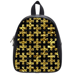 Puzzle1 Black Marble & Gold Foil School Bag (small) by trendistuff