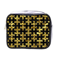 Puzzle1 Black Marble & Gold Foil Mini Toiletries Bags by trendistuff