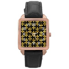 Puzzle1 Black Marble & Gold Foil Rose Gold Leather Watch  by trendistuff