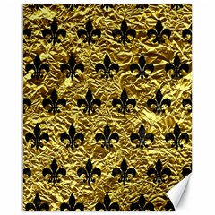 Royal1 Black Marble & Gold Foil Canvas 16  X 20   by trendistuff