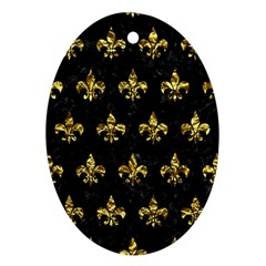 Royal1 Black Marble & Gold Foil (r) Oval Ornament (two Sides) by trendistuff