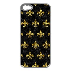 Royal1 Black Marble & Gold Foil (r) Apple Iphone 5 Case (silver)