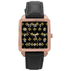 Royal1 Black Marble & Gold Foil (r) Rose Gold Leather Watch  by trendistuff