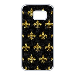 Royal1 Black Marble & Gold Foil (r) Samsung Galaxy S7 Edge White Seamless Case by trendistuff