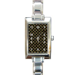 Scales1 Black Marble & Gold Foil Rectangle Italian Charm Watch by trendistuff