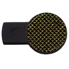 Scales1 Black Marble & Gold Foil Usb Flash Drive Round (2 Gb)