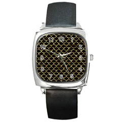 Scales1 Black Marble & Gold Foil Square Metal Watch by trendistuff
