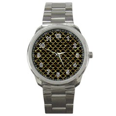 Scales1 Black Marble & Gold Foil Sport Metal Watch by trendistuff