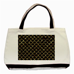 Scales1 Black Marble & Gold Foil Basic Tote Bag (two Sides) by trendistuff