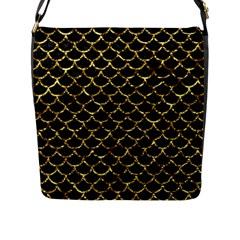 Scales1 Black Marble & Gold Foil Flap Messenger Bag (l)  by trendistuff