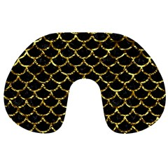 Scales1 Black Marble & Gold Foil Travel Neck Pillows by trendistuff