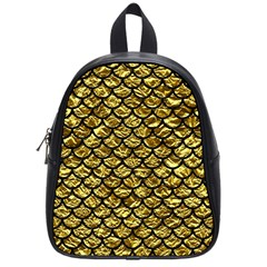 Scales1 Black Marble & Gold Foil (r) School Bag (small) by trendistuff