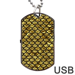 Scales1 Black Marble & Gold Foil (r) Dog Tag Usb Flash (two Sides) by trendistuff