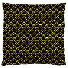 Scales2 Black Marble & Gold Foil Large Flano Cushion Case (two Sides) by trendistuff