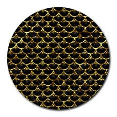 Scales3 Black Marble & Gold Foil Round Mousepads