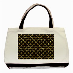 Scales3 Black Marble & Gold Foil Basic Tote Bag by trendistuff