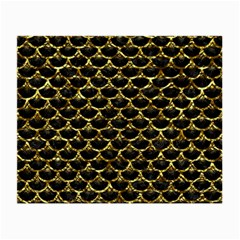 Scales3 Black Marble & Gold Foil Small Glasses Cloth (2 Side) by trendistuff