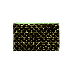 Scales3 Black Marble & Gold Foil Cosmetic Bag (xs) by trendistuff