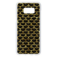 Scales3 Black Marble & Gold Foil Samsung Galaxy S8 Plus White Seamless Case by trendistuff