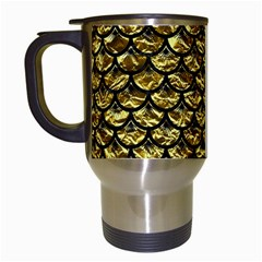 Scales3 Black Marble & Gold Foil (r) Travel Mugs (white) by trendistuff