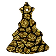 Skin1 Black Marble & Gold Foil Christmas Tree Ornament (two Sides)