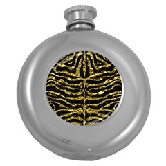 Skin2 Black Marble & Gold Foil Round Hip Flask (5 Oz) by trendistuff