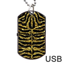 Skin2 Black Marble & Gold Foil Dog Tag Usb Flash (one Side) by trendistuff